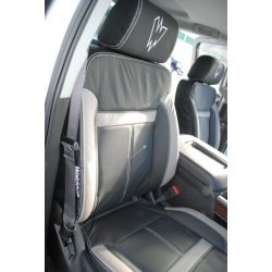 Waldoch Black wrap seat with Leather center Perf w/grey accents & w/design